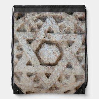Old Star of David carving, Israel Drawstring Bag