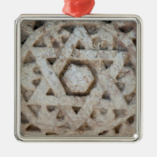 Old Star of David carving, Israel Silver-Colored Square Ornament