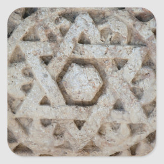 Old Star of David carving, Israel Square Sticker