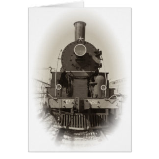 Old steam locomotive card