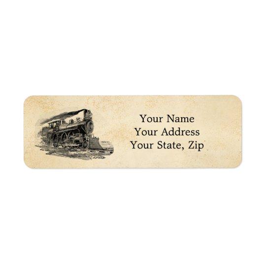 Old Steam Locomotive Return Address Label