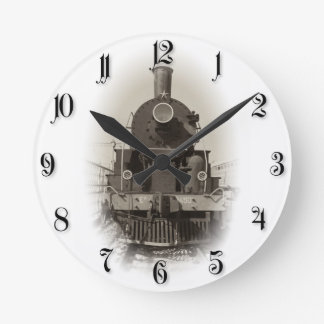 Old steam locomotive round clock