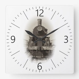 Old steam locomotive square wall clock