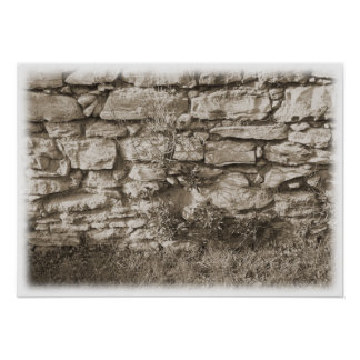 Old Stone Garden Wall. Sepia Color. Poster