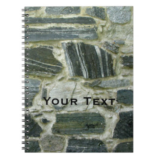 Old Stone Wall with Text Spiral Notebook