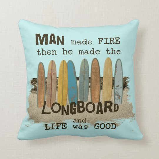 Old Surfer Humour Throw Pillow