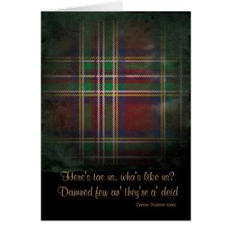 Old tartan Scottish toast card