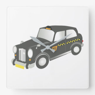 Old Taxi Square Wall Clock