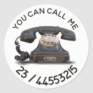 Old Telephone -  add number Classic Round Sticker