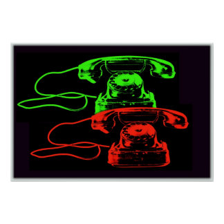 Old Telephone Collage-I Poster
