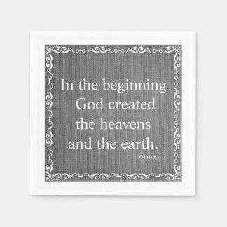 Old Testament Bible Scripture Quote – Genesis 1:1 Paper Napkin