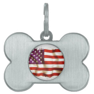 Old the USA flag Pet ID Tags