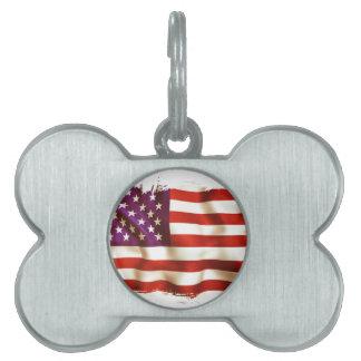 Old the USA flag Pet Name Tag