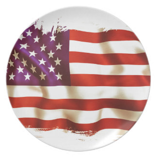 Old the USA flag Plate