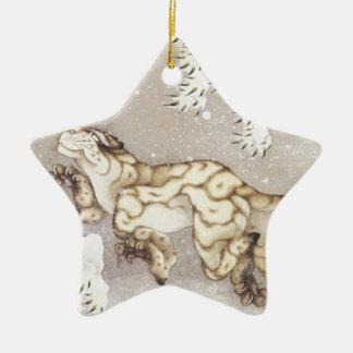 Old Tiger in the Snow Ceramic Ornament