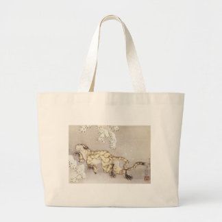 Old Tiger in the Snow Large Tote Bag