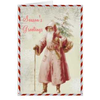 Old time Christmas card with candy stripe edges