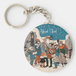 Old Time Christmas Carolers Musicians by Lamp Post Keychain