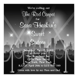 Old Time Hollywood Red Carpet Sweet 16 Card