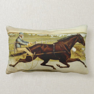 Old time horse and chariot with rider lumbar pillow