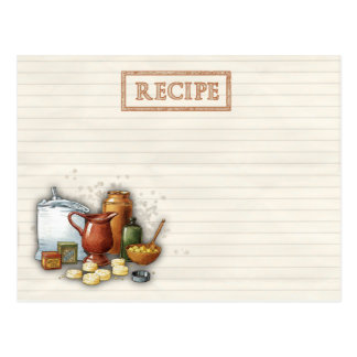old time recipes postcard
