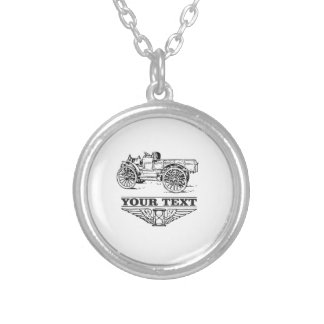 old time truck on road silver plated necklace