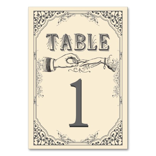 Old time Victorian table numbers