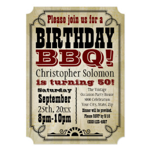 Old Time Vintage Country Birthday BBQ Party Card