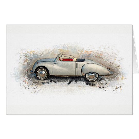 Old timer, car, convertible - water color, design card
