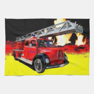 Old timer fire-brigade kitchen towel
