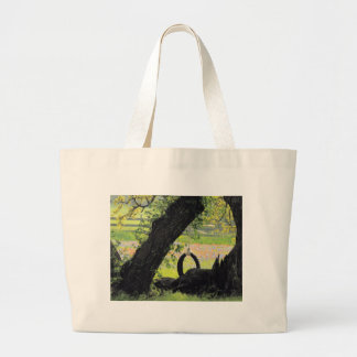 Old Tire Swing Large Tote Bag