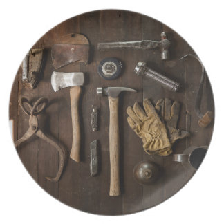 Old Tools on Wood Background Melamine Plate