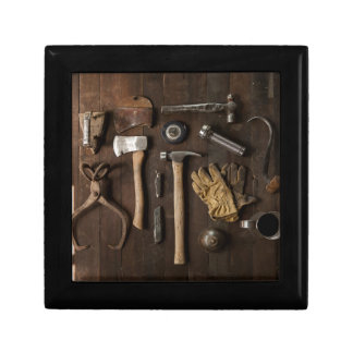 Old Tools on Wood Background Men's Jewelry Box