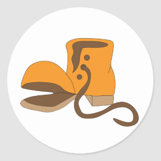 Old torn boot classic round sticker