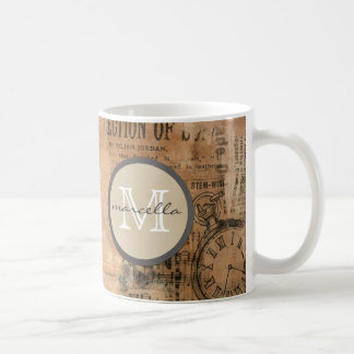 Old Torn Vintage Newspaper Monogram Coffee Mug