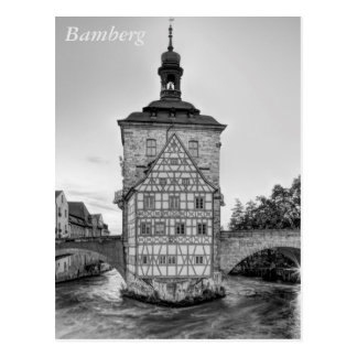 Old Town Hall and Obere Bridge in Bamberg Postcard