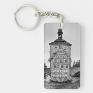 Old Town Hall and Obere Bridge in Bamberg Single-Sided Rectangular Acrylic Keychain