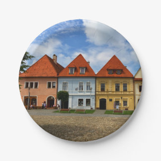 Old town houses in Bardejov, Slovakia Paper Plate