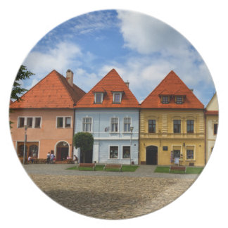 Old town houses in Bardejov, Slovakia Plate