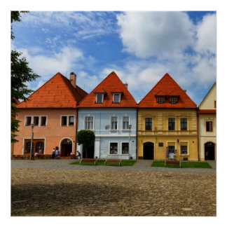 Old town houses in Bardejov, Slovakia Poster
