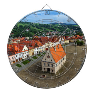 Old town square in Bardejov by day, Slovakia Dartboard