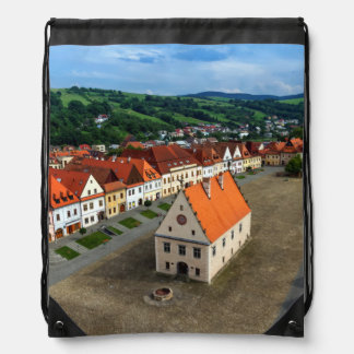 Old town square in Bardejov by day, Slovakia Drawstring Bag