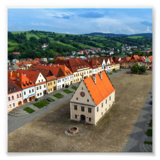 Old town square in Bardejov by day, Slovakia Photo Print