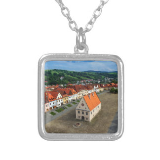 Old town square in Bardejov by day, Slovakia Silver Plated Necklace