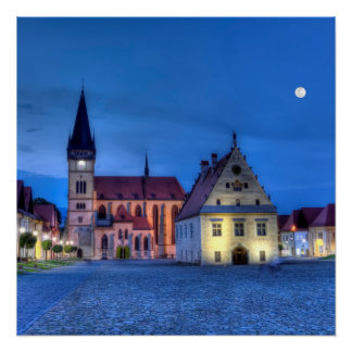 Old town square in Bardejov, Slovakia,HDR Poster