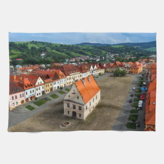 Old town square in Bardejov, Slovakia Kitchen Towel