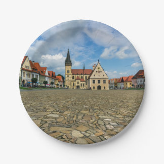 Old town square in Bardejov, Slovakia Paper Plate