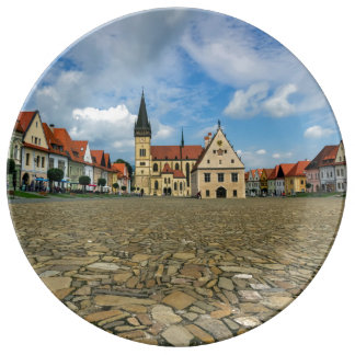 Old town square in Bardejov, Slovakia Plate