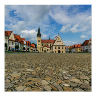 Old town square in Bardejov, Slovakia Poster
