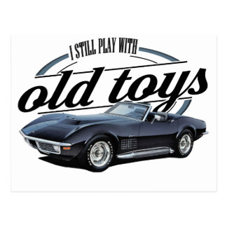 old toys black vette postcard